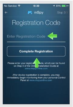 mSpy iPhone code